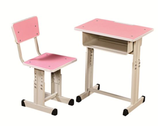 China School Desk And Chair, Pink Wooden School Desk