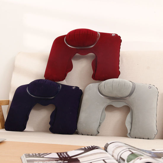 Flocked Pvc Inflatable Neck Pillow For Office Sleeping