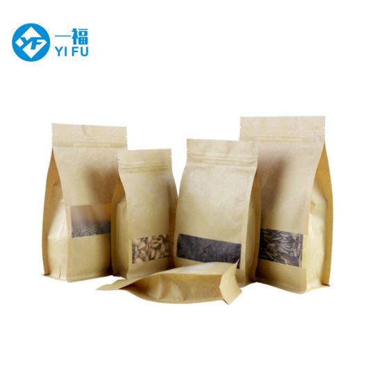 Brown Tin Tie Zip Lock Kraft Paper Bags With Clear Window