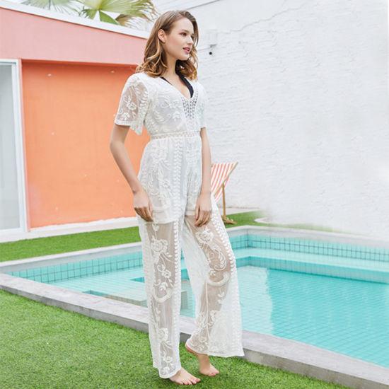 Ladies Transparent Lace Sets Swimwear Beachwear Crochet Tops and Pants