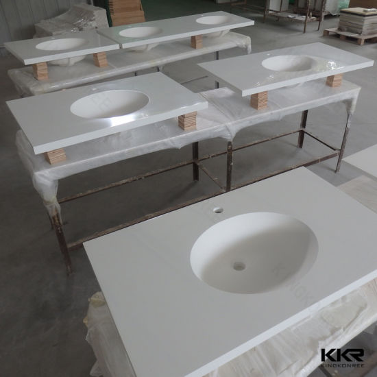 Kingkonree Commercial Prefab 72 Stone Resin Bathroom Countertop 180511