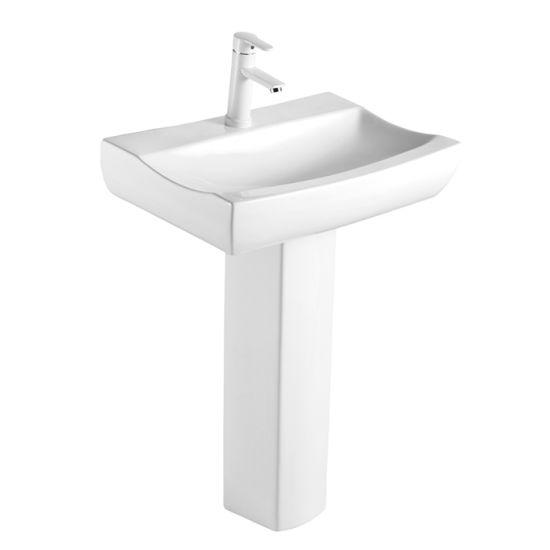 China Amp8523 Luxury Bathroom Sanitary Ware White Pedestal Basin China Water Basin Bathroom Furniture