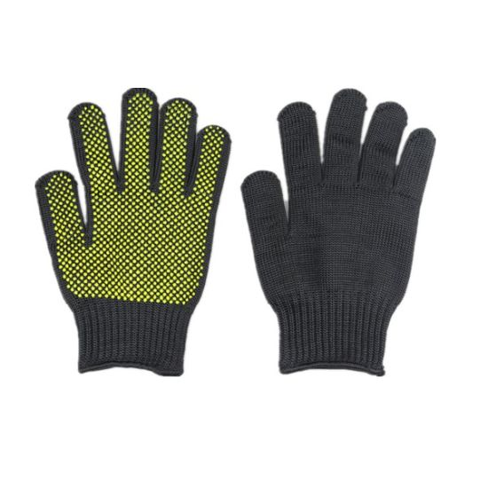 Steel Wire Cut Resistant Glove with Sillicone Dots Heat Resistant Material on Palm