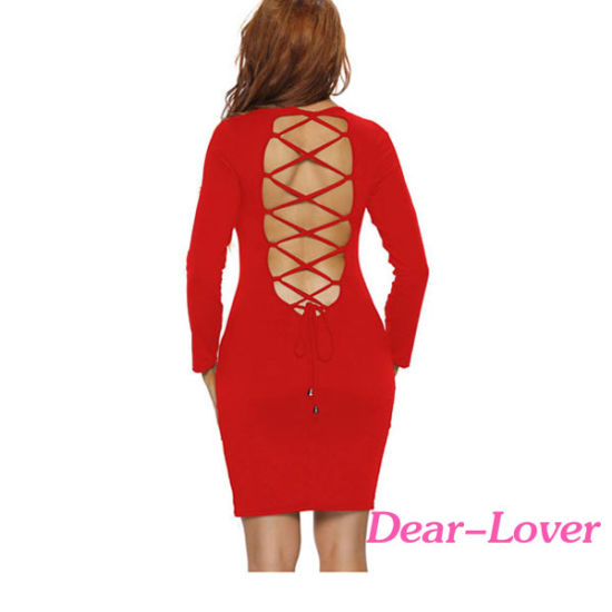 Lace up Back Long Sleeve Sexy Dress pictures & photos