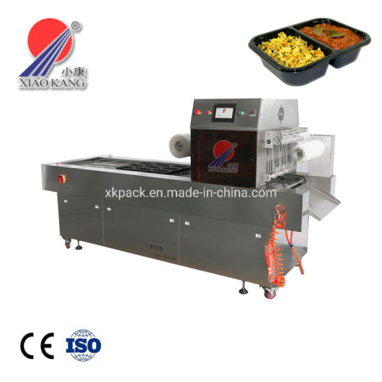 24hours Automatic Continuous Ready Meal Packing Machine Vacuum Plastic Tray Sealing Machine for Food