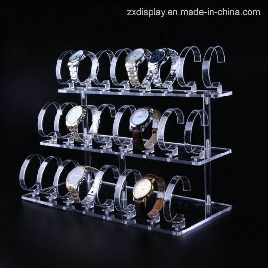 3 Tier Acrylic Watch Retail Display Rack for Store Use
