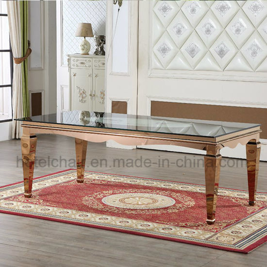Adjustable Popular Hot Design Stainless Steel Square Dining Table Set