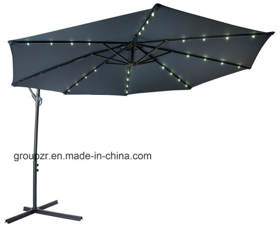 Outdoor Steel Hanging Umbrella with LED Lights pictures & photos