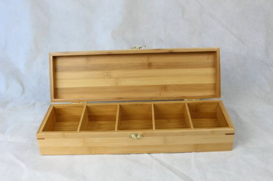 Natural Bamboo Wooden Box Tea Bag Chest with Compartments pictures & photos