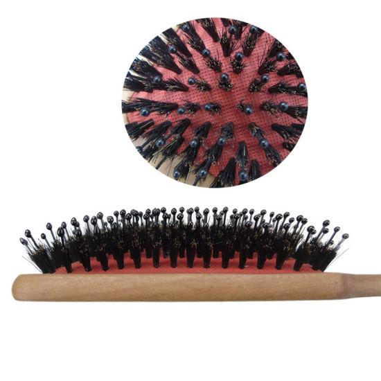 100% Natural Boar Bristle Hair Brush for Women & Mens, The Best Detangling Brush, Large Square Paddle Wooden Hair Brush