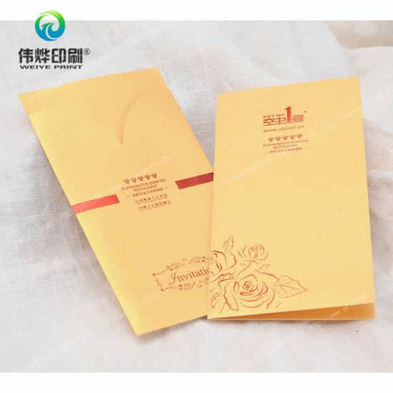 china bi fold paper printing invitation card with envelope china
