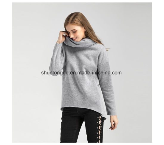 Women Winter Hoodies Scarf Collar Long Sleeve Fashion Casual Autumn Sweatshirts Rough Pullovers pictures & photos