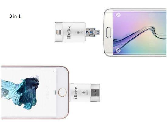 3 in 1 Idrive OTG USB Flash Drive USB Flash Pen Drive for iPhone iPhone iPod Android 32GB 64GB 128GB 256GB