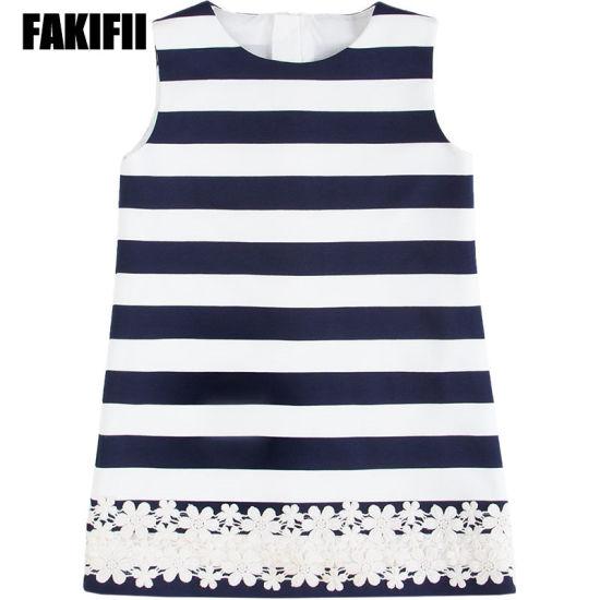Factory Custom Baby Wear Children Clothing Spring Girl Elegant Flower Applique Striped Dress Wholesale Fashion Apparel