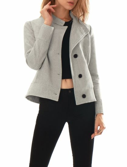 High Quality Women Stand Collar Single Breasted Utility Coats Factory