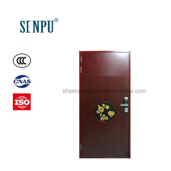 Residential Use Interior Steel Frame with Wooden Veneer Burglar Proof Door