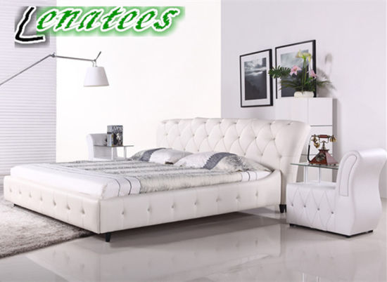 A056 French Style Bedroom Furniture Genuine Leather Bed