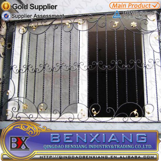 China Simple Iron Powder Coated Window Grills Design Wrought Iron