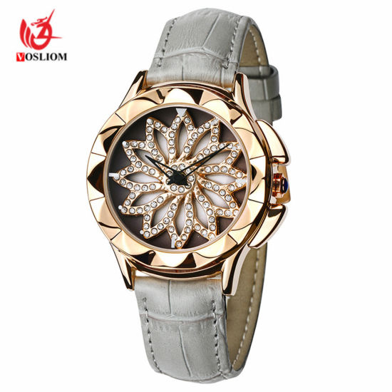 Wholesale Women Fashion Watch Rhinestone Casual Creative Lady Watch Turntable Leather Quartz Wrist Watch -129 pictures & photos