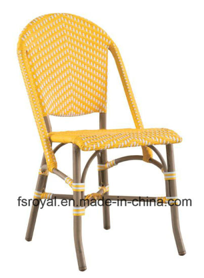 Outdoor Garden Furniture French Bistro Synthetic Woven Rattan Cafe Dining Chair
