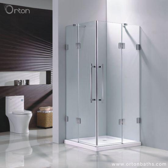 China Europe Market Corner Square Frameless Two Pivot Door Shower Enclosure China Shower Enclosures Europe Shower Enclosures