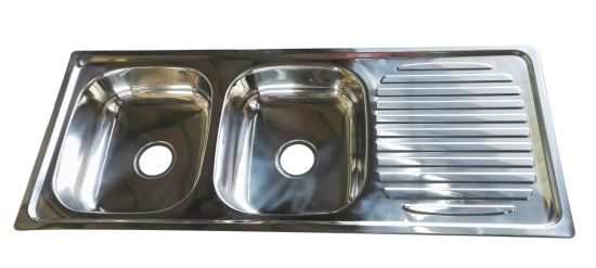 Stainless Steel Double Bowls 12050 Kitchen Sink with Cutting Board