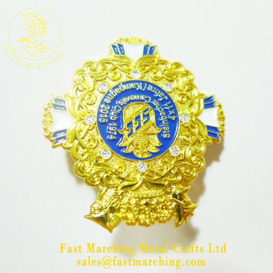 China Custom Wholesale Tinplate Material Medal Emblem Chrome