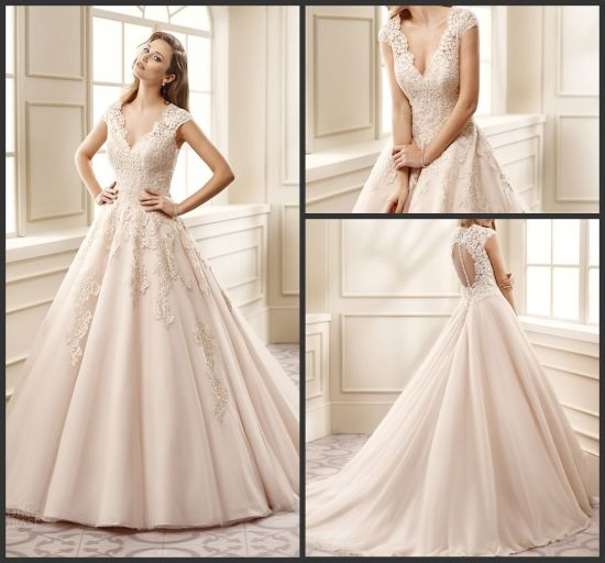 China Cap Sleeves Bridal Ball Gowns Pink Color Accent Wedding ...