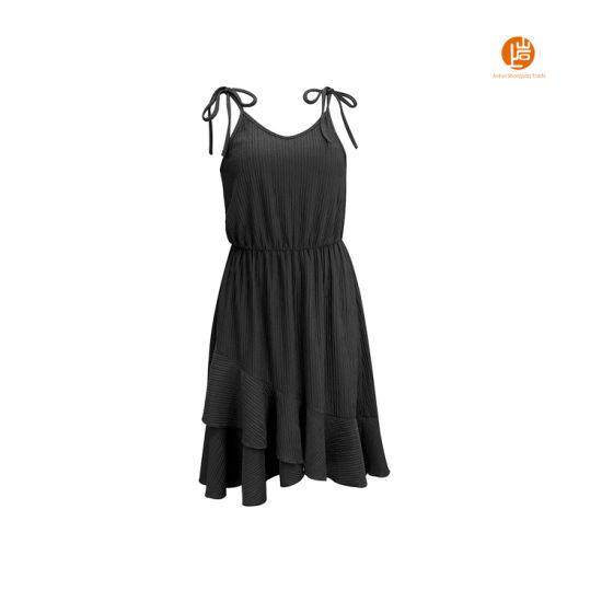 Shangyan Womens Tie Spaghetti Straps Elastic Waist Short Ruffle Slip Dress