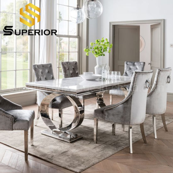 Luxury Stainless Steel Metal Base White Marble Top Dining Table China Dining Table Set Restaurant Table Made In China Com