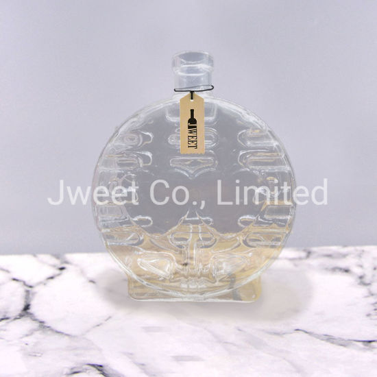 Special Custom Flat Round Glass Rum Bottle Embossed
