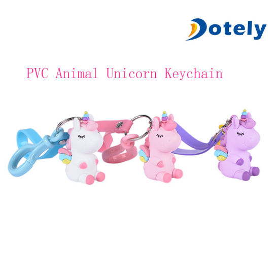 Cute PVC Animal Unicorn Keychain for Promotion Gifts