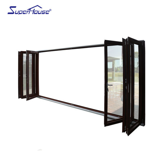 Superhouse American Standard Double Tempered Glass Six Wood-Grain Bi Folding Doors Steel Glass Door