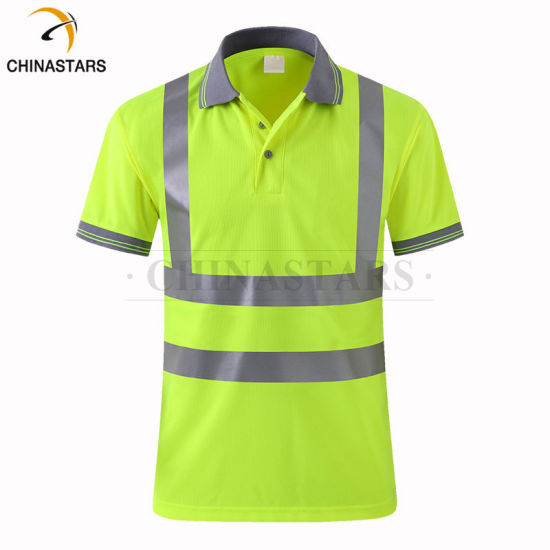 Grey Color Collar Short Sleeve Hi Vis Polo Shirts