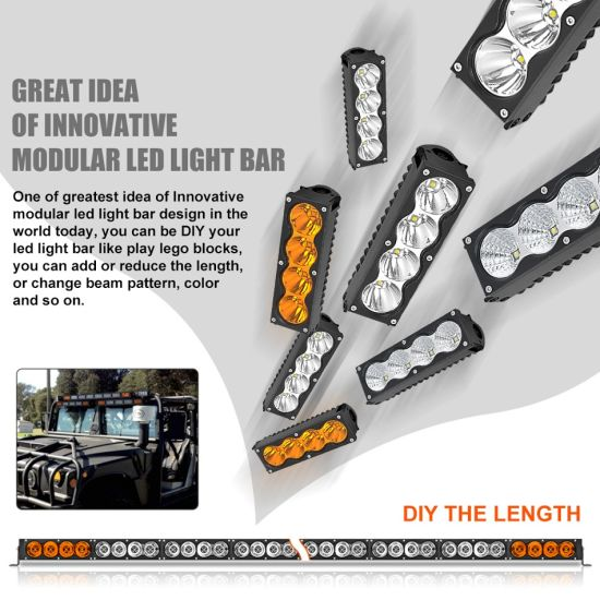 12v 24v 6 2inch 60w Amber Led Modular Kit Light Bar Ce Rohs