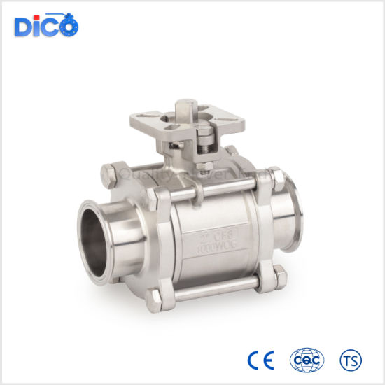 Sanitary Stainless Steel Clamp End 3PC Ball Valve