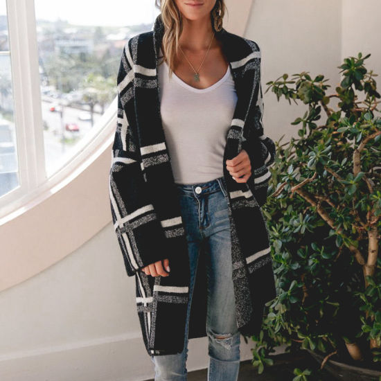 Women Apparel Casual Cardigan Sweater Plaid Coat Long Jacket Fashion Clothes Wool Sweater