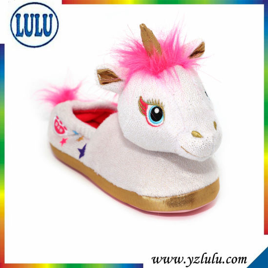 Kids Indoor Soft Plush Stuffed Toy Unicorn Cute Children Girl Slippers Warm Winter Cartoon Indoor Shoes pictures & photos