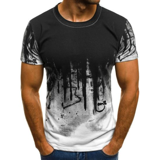 Men's Fashion Sports T-Shirt Fitness Printed Short-Sleeved Clothing