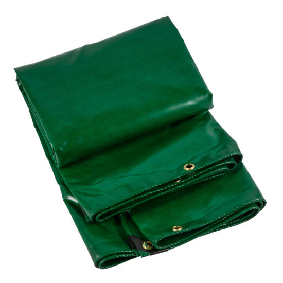 100%Polyester PVC Coated/Lidded Tarp, Dark Green pictures & photos