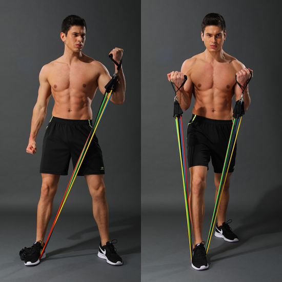 11PCS Fitness Pull Rope Resistance Bands Latex Strength Gym Equipment Home Elastic Exercises Body Fitness Workout Equipment