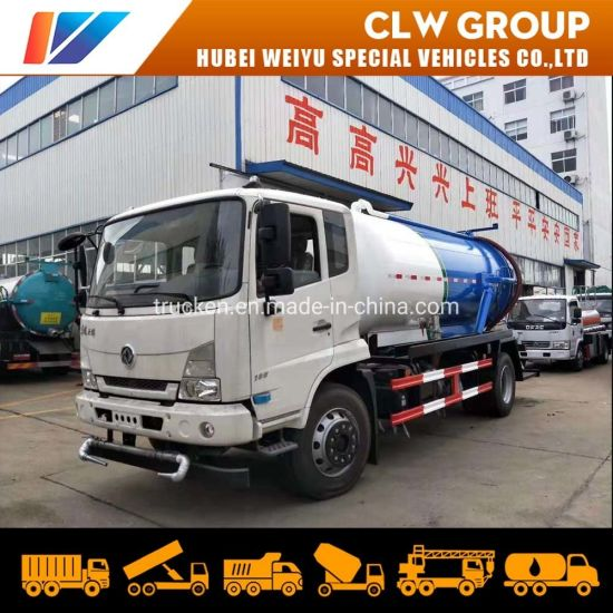 Dongfeng 4*2 New 11m3 11000liters Diesel Engine 180HP 6mm Carbon Steel High Pressure Sewage Suction Tanker Truck