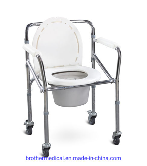 Foldable Shower Aluminum Commode Chair with Wheels