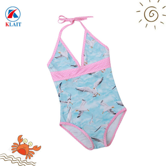 1366313ae769e China Wholesale Cheap Seagull Printed Ruffle Baby One-Piece Swimsuit ...