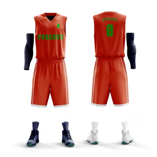 Hot Sale Dry Fit Basketball Jersey with Mesh Color Orange