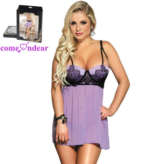 Wholesale Fashion Lace Transparent Sexy Women Babydoll Lingerie pictures & photos