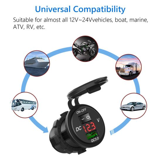 Car Charger USB Port LED Digital Display Waterproof with Voltmeter Switch