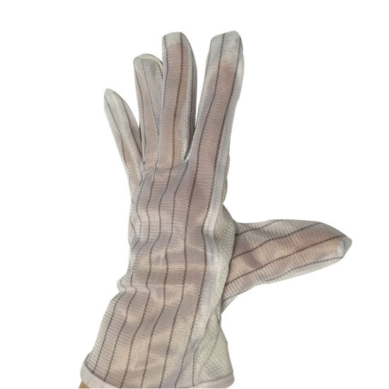 PVC Dotted White ESD Work Polyester Gloves