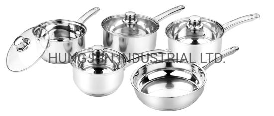 9PCS Stainless Steel Cooking Pot, Stainless Steel Cookware Set