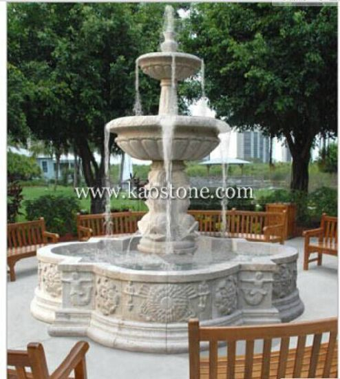 Water Fountain with White Marble Stone pictures & photos